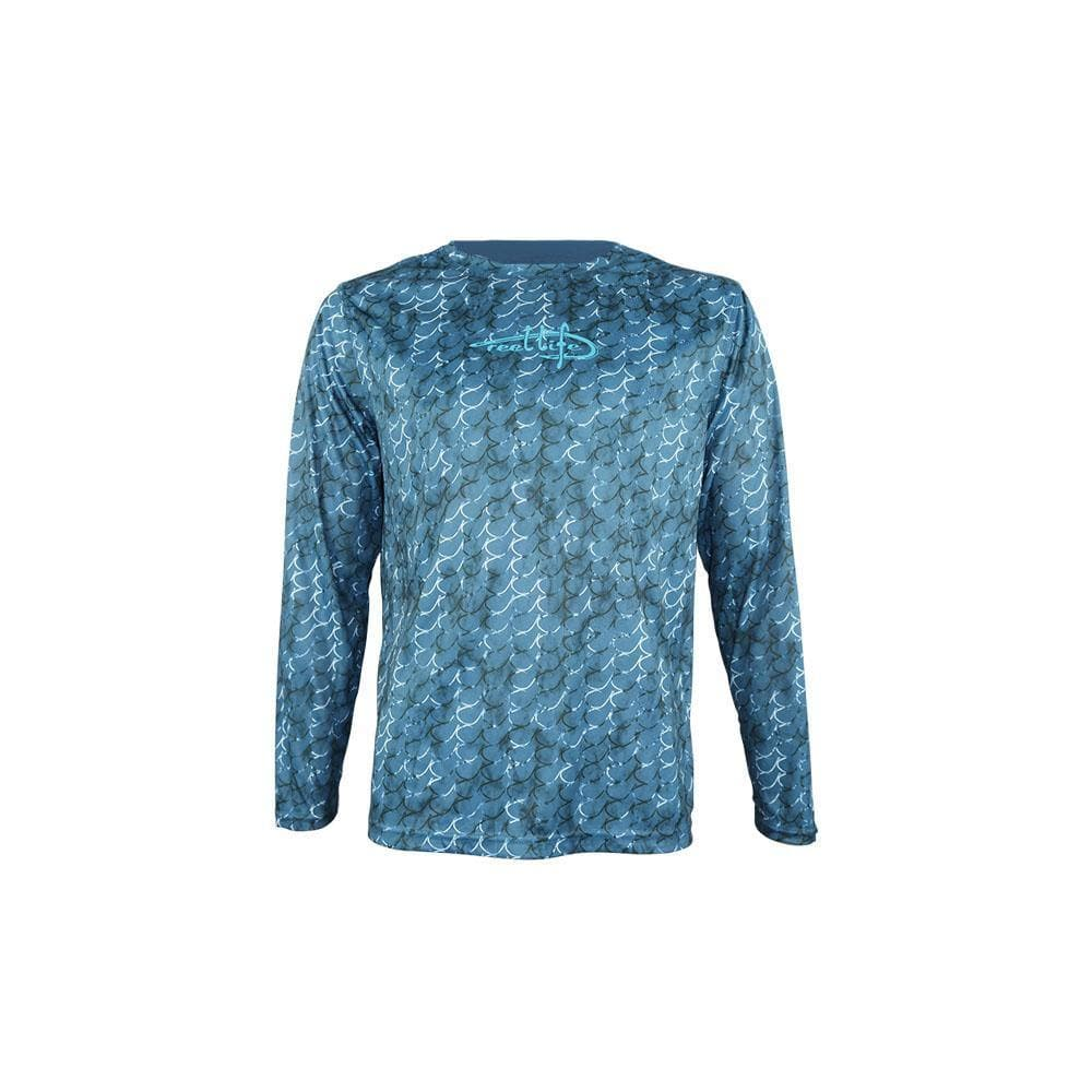 "Reel Life Men's Long Sleeve UV ""Marbled Hook AOP""- Real Teal"