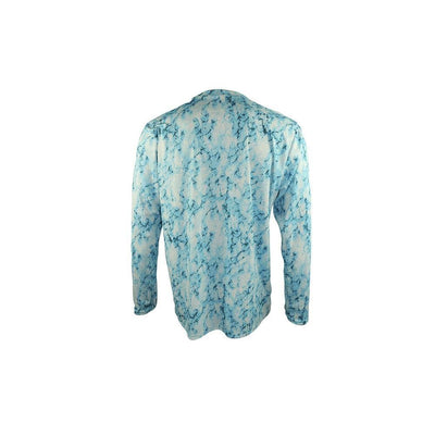 "Reel Life Men's Long Sleeve UV ""Marbled Hook AOP""- Teal Blue"