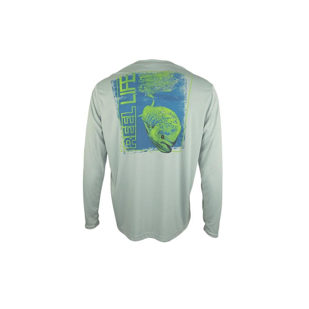 "Reel Life Men's Long Sleeve UV ""Mahi Photo Reel""- High Rise Grey - Reel Life"