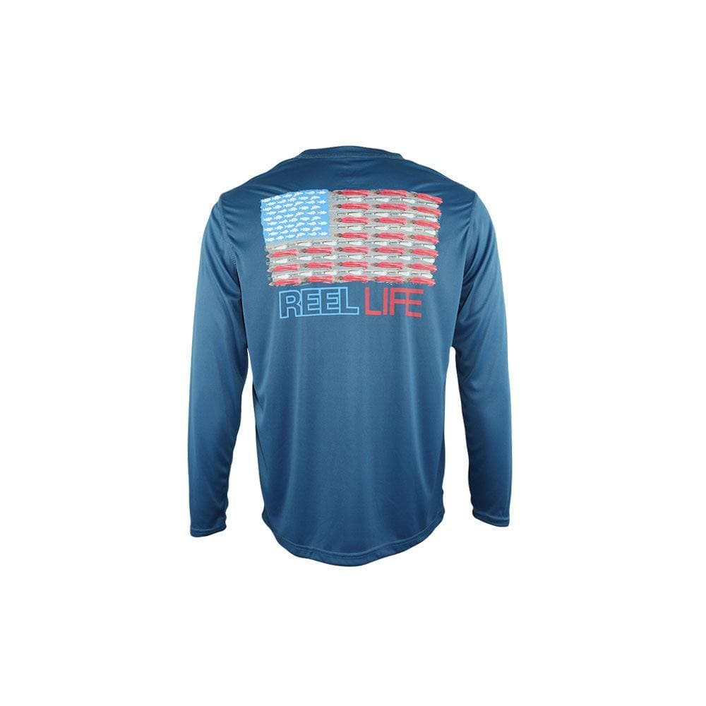 "Reel Life Men's Long Sleeve UV ""Merica""- Real Teal"