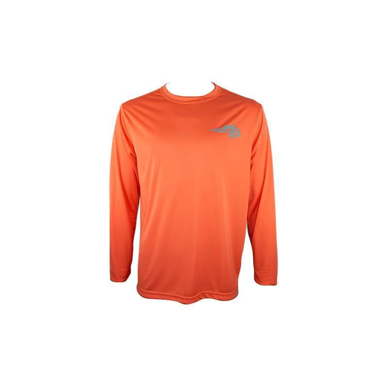 "Men's Long Sleeve UV "" Photo Reel Palm & Boat"" - Coral - Reel Life"