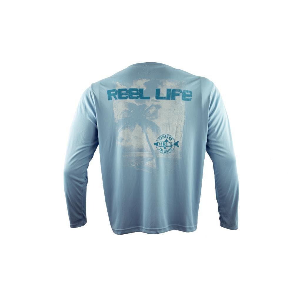 "Reel Life Men's Long Sleeve UV ""Palm & Boat"" - Sky Blue"