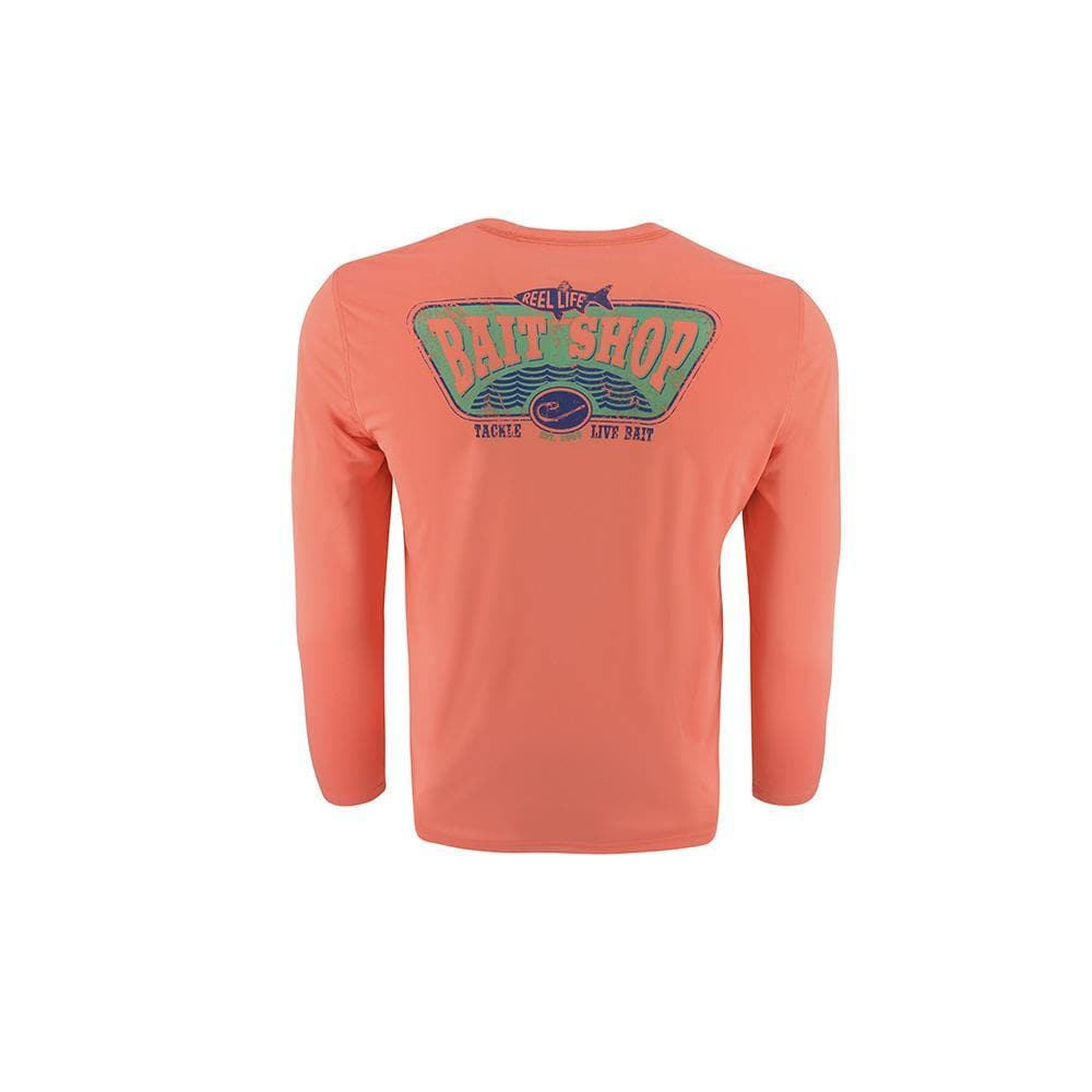 "Reel Life Men's Long Sleeve UV ""Bait Shop"" - Coral"