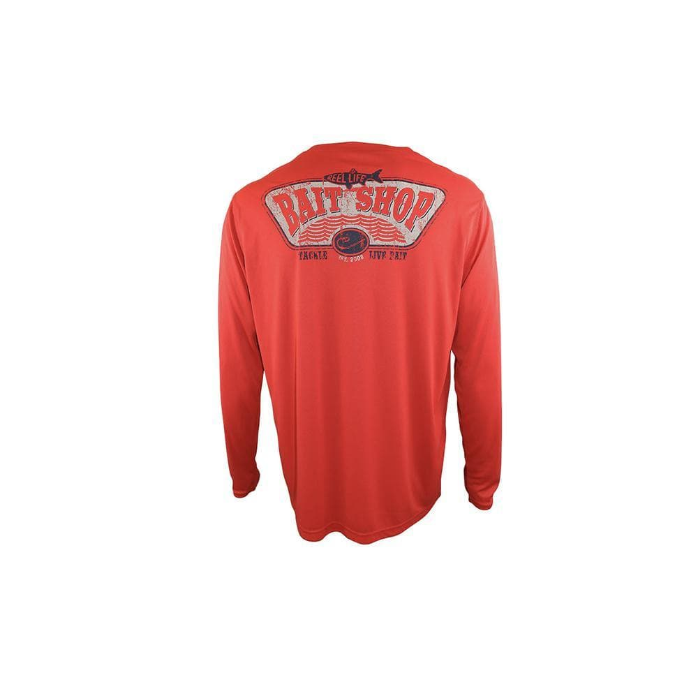 "Reel Life Men's Long Sleeve UV ""Bait Shop""- Poppy Red"
