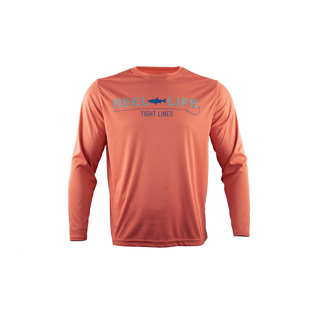 "Reel Life Men's Long Sleeve UV ""Tight Lines"" - Coral"