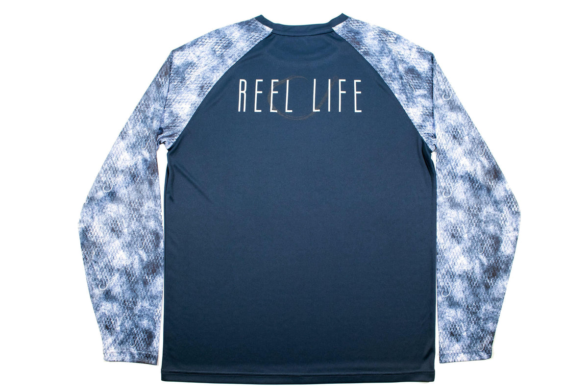 "Men's Raglan Long sleeve UV ""Hook Grunge Scales"" - Reel Life"