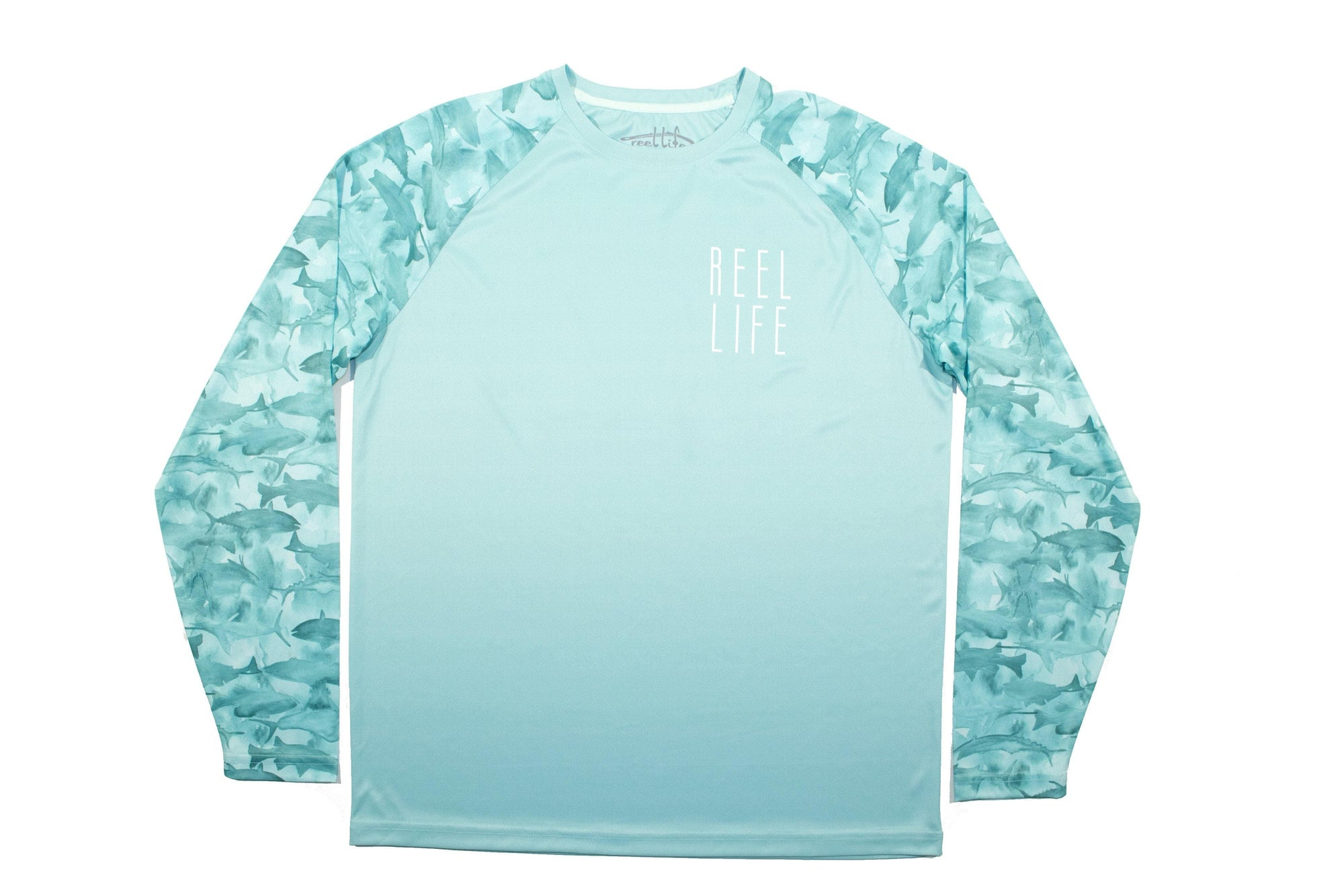 "Men's Raglan Long Sleeve UV ""Many Fish Water Color"" - Reel Life"