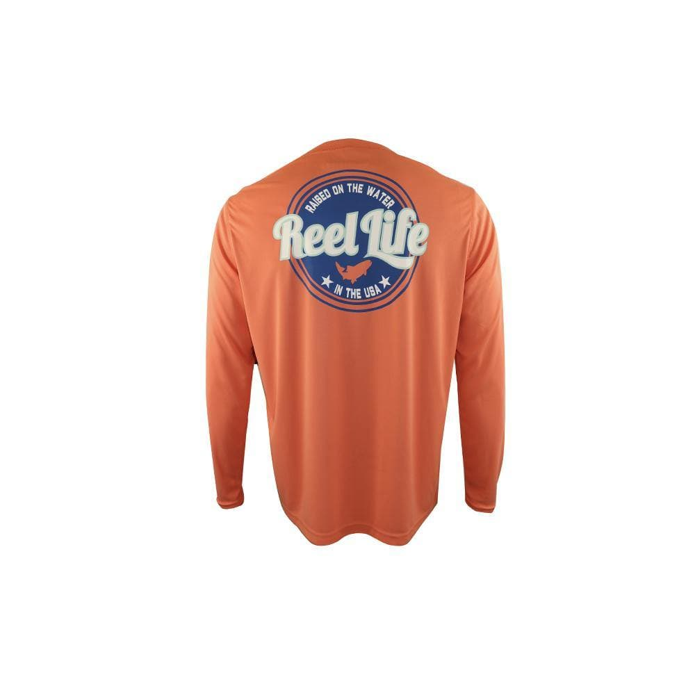 "Reel Life Men's Long Sleeve UV ""Raised on the Water"" - Cantaloupe - Reel Life"