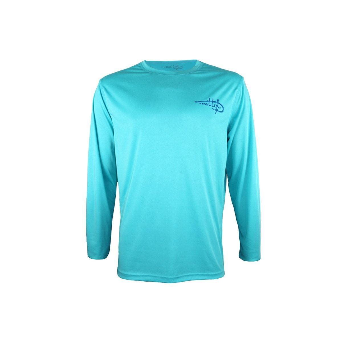 "Reel Life Men's Long Sleeve UV ""Raised on the Water"" - Scuba Blue - Reel Life"