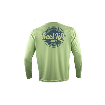 "Reel Life Men's Long Sleeve UV ""Raised on the Water"" - Seafoam Green"