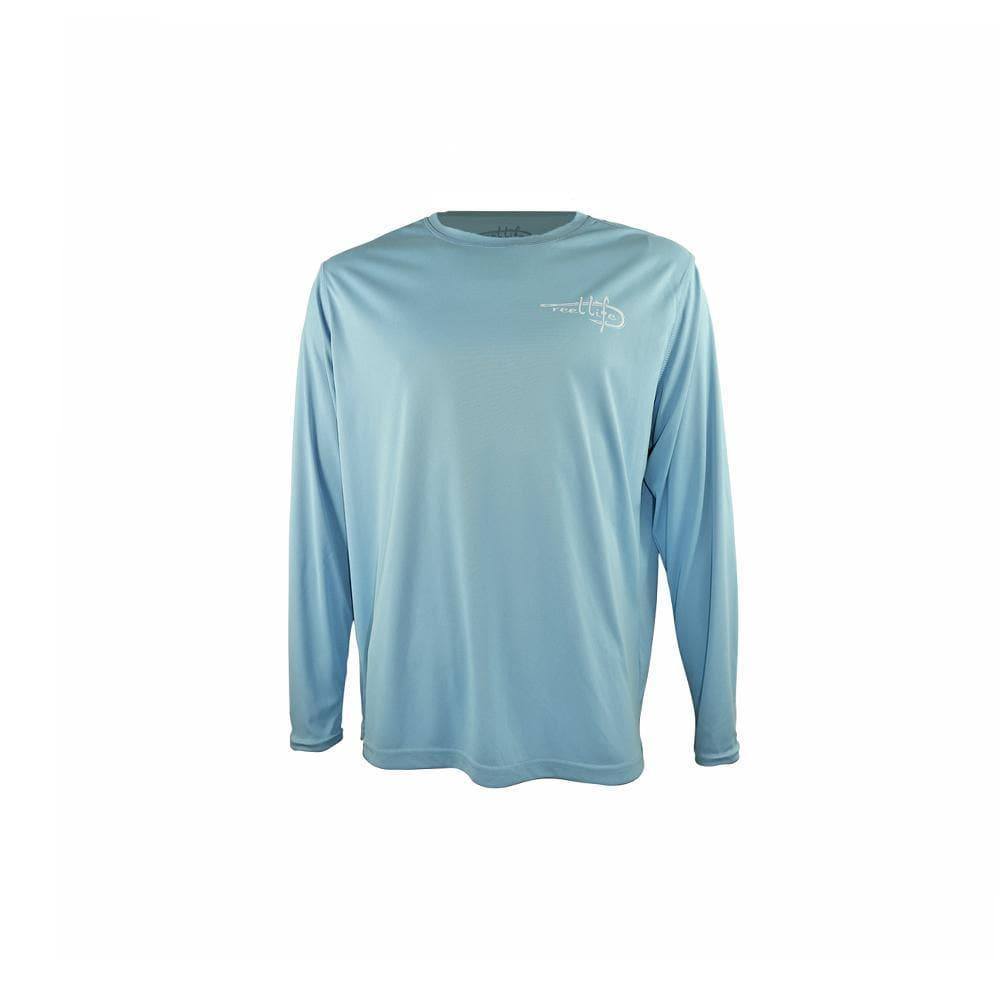 "Reel Life Men's Long Sleeve UV ""Raised & Hooked""- Sky Blue"