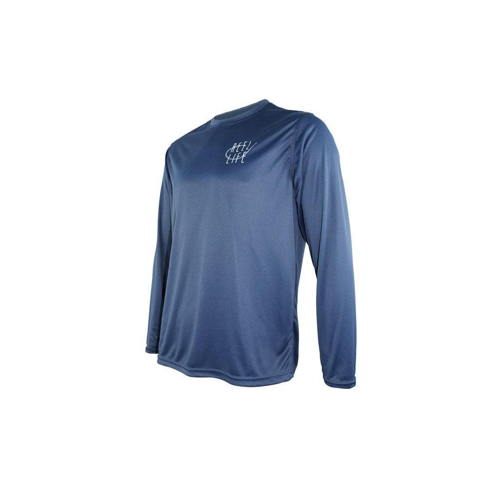 "Reel Life Men's Long Sleeve UV ""Soft Beach""- Dress Blue"