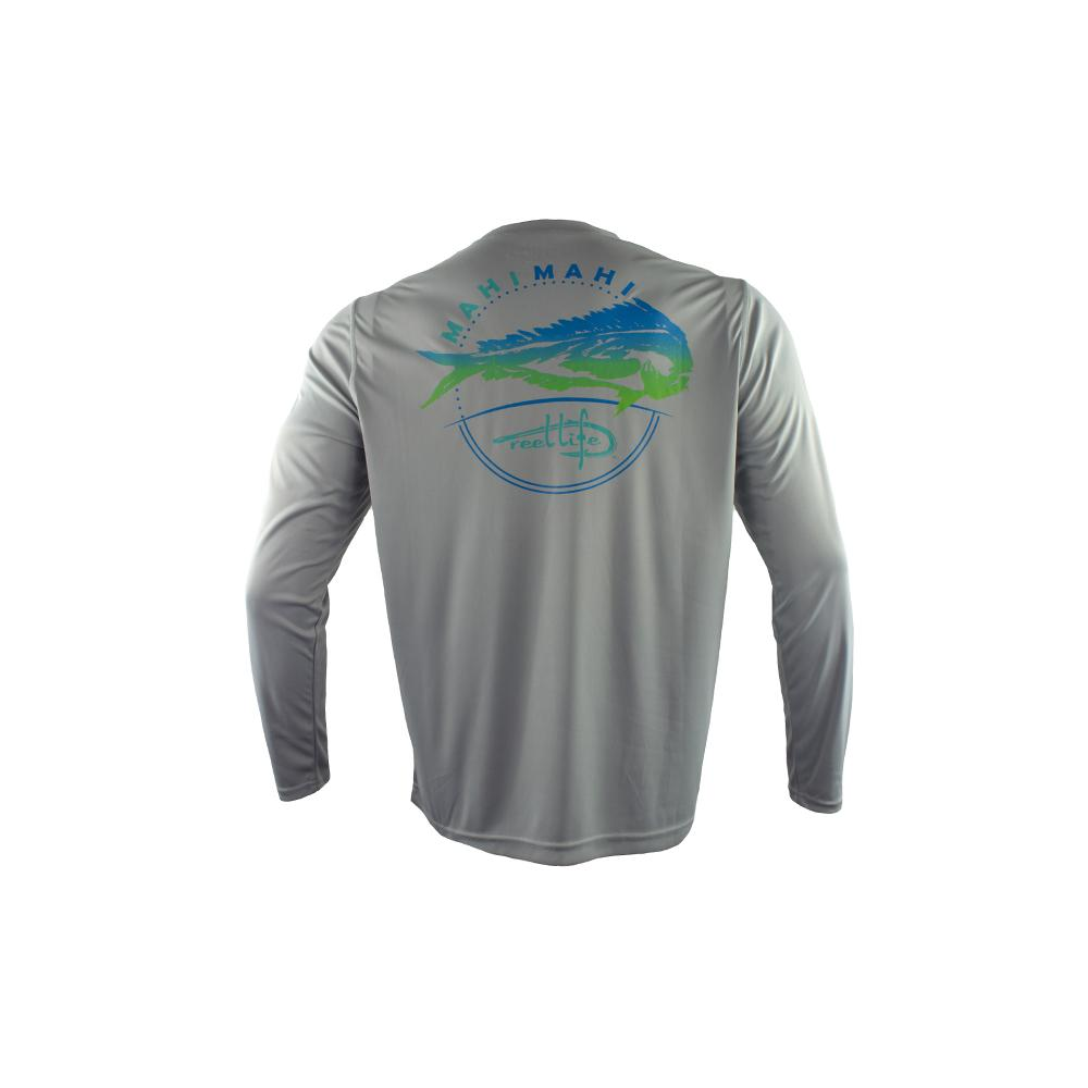 "Reel Life Men's Long Sleeve UV ""Southern Mahi"" - High Rise Grey"