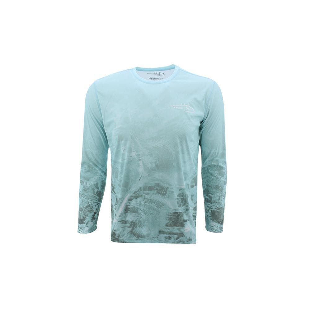 "Reel Life Men's Long Sleeve UV ""Teal Water Print"""