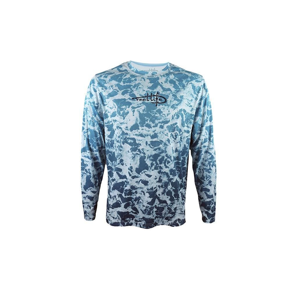 "Reel Life Men's Long Sleeve UV ""Water Foam"" - Angel Blue"