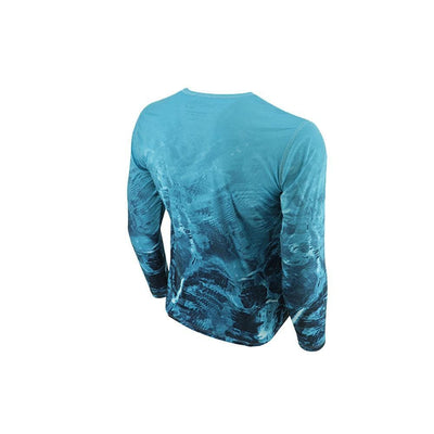 "Reel Life Men's Long Sleeve UV ""Waters AOP"" - Blue Waters"