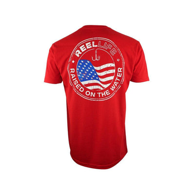 "Reel Life Men's Short Sleeve Graphic Tee ""Americana Emblem""- Red"