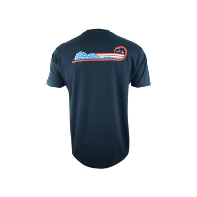 "Reel Life Men's Short Sleeve Graphc Tee ""American Seas Hook"" - Navy"