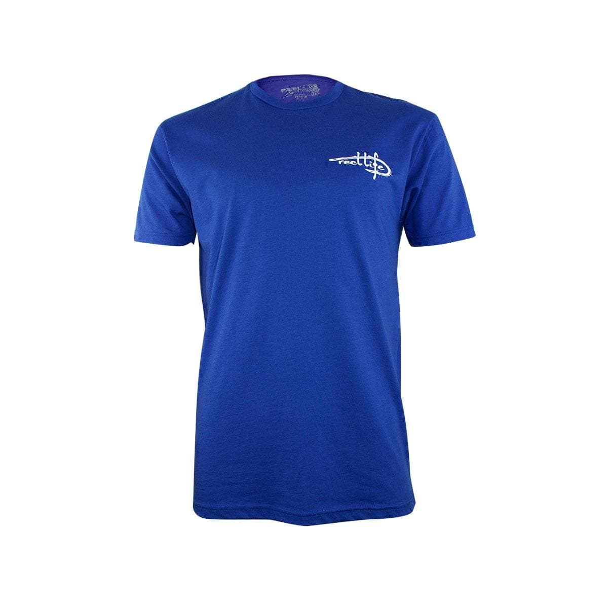 "Reel Life Men's Short Sleeve Graphic Tee ""Hooked on USA""- Royal Blue - Reel Life"