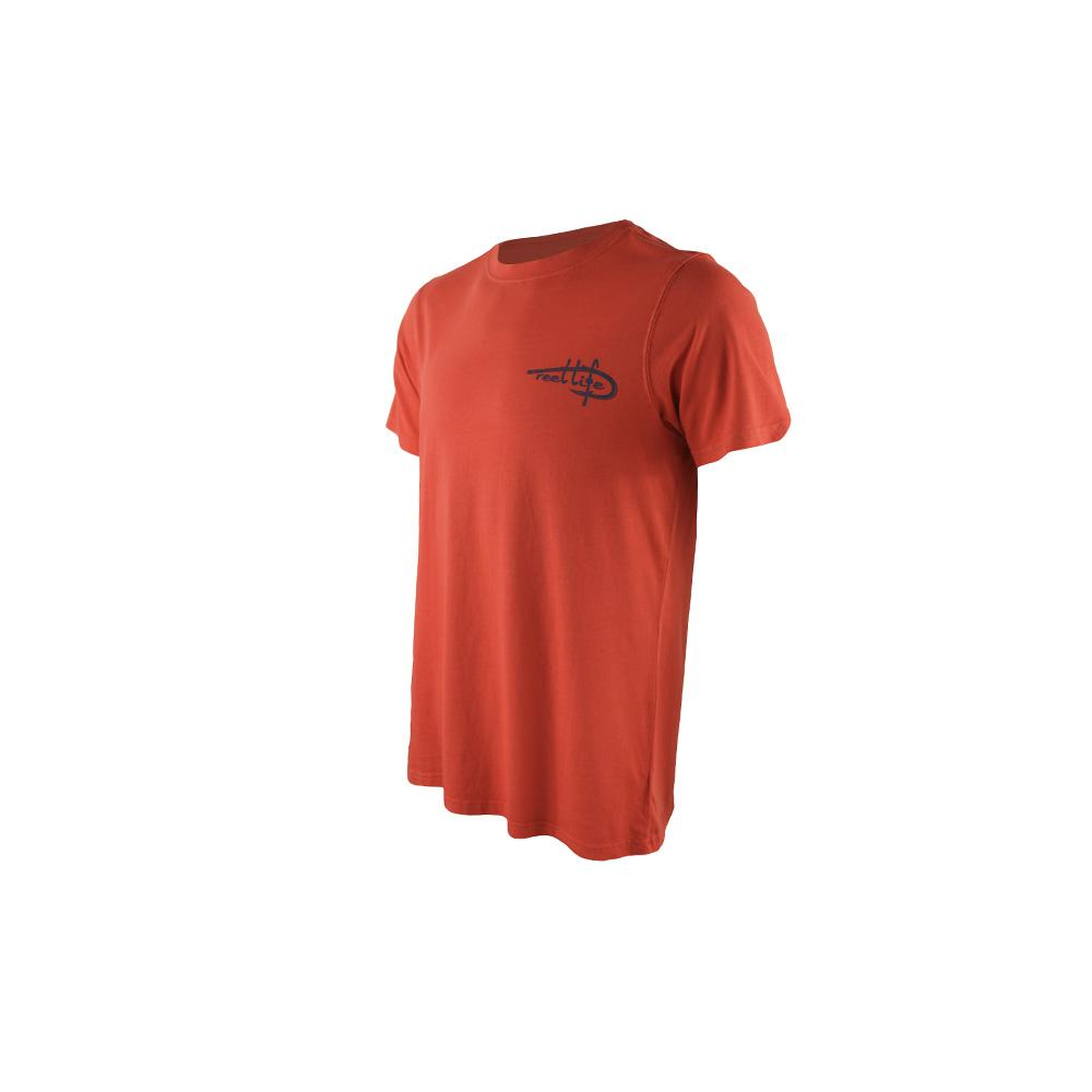 "Reel Life Men's Short Sleeve Tee ""American Fish Tail""- Poppy Red"