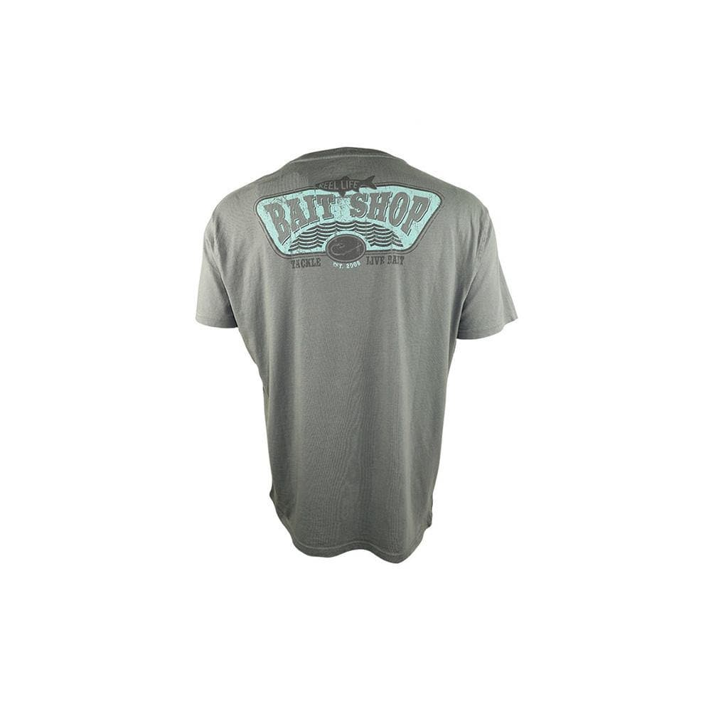 "Reel Life Men's Short Sleeve Tee ""Bait Shop"" - Silver Filigree - Reel Life"