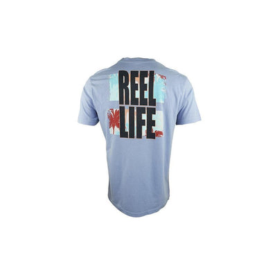 "Reel Life Men's Short Sleeve Tee ""Faded Palms""- Stone Wash"