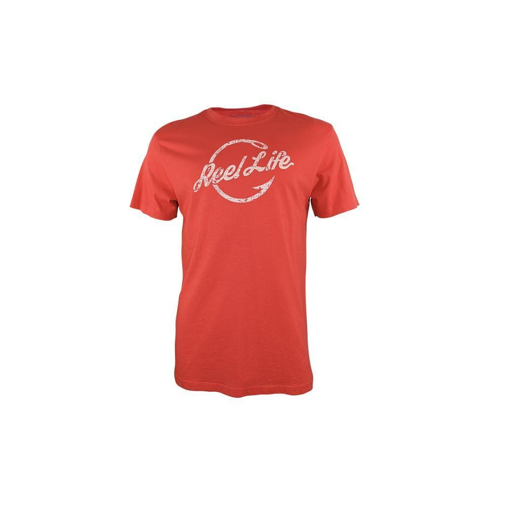 "Reel Life Men's Short Sleeve Tee ""Hooked Around Logo"" - Poppy Red"