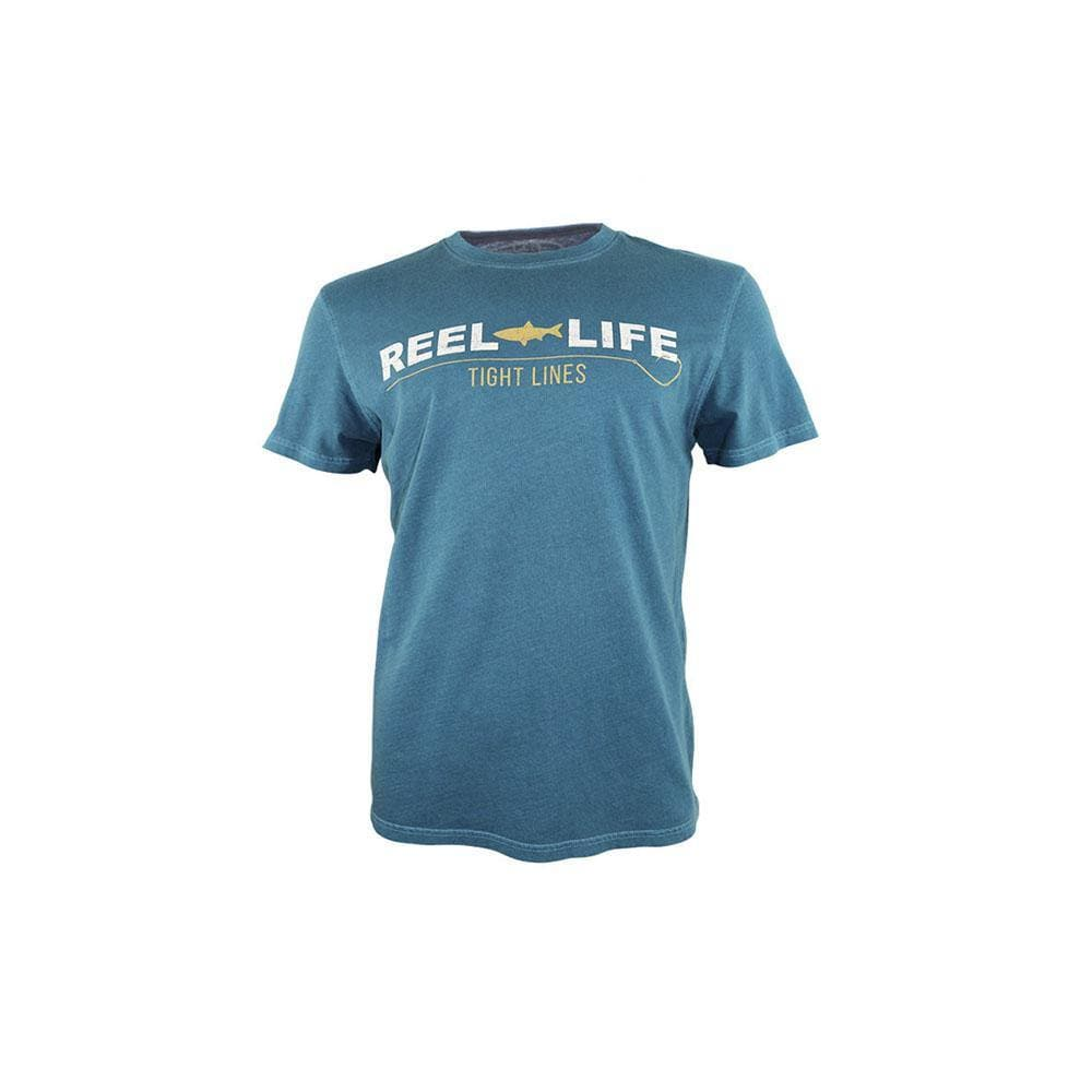 "Reel Life Men's Short Sleeve Tee ""Tight Lines"" - Real Teal"