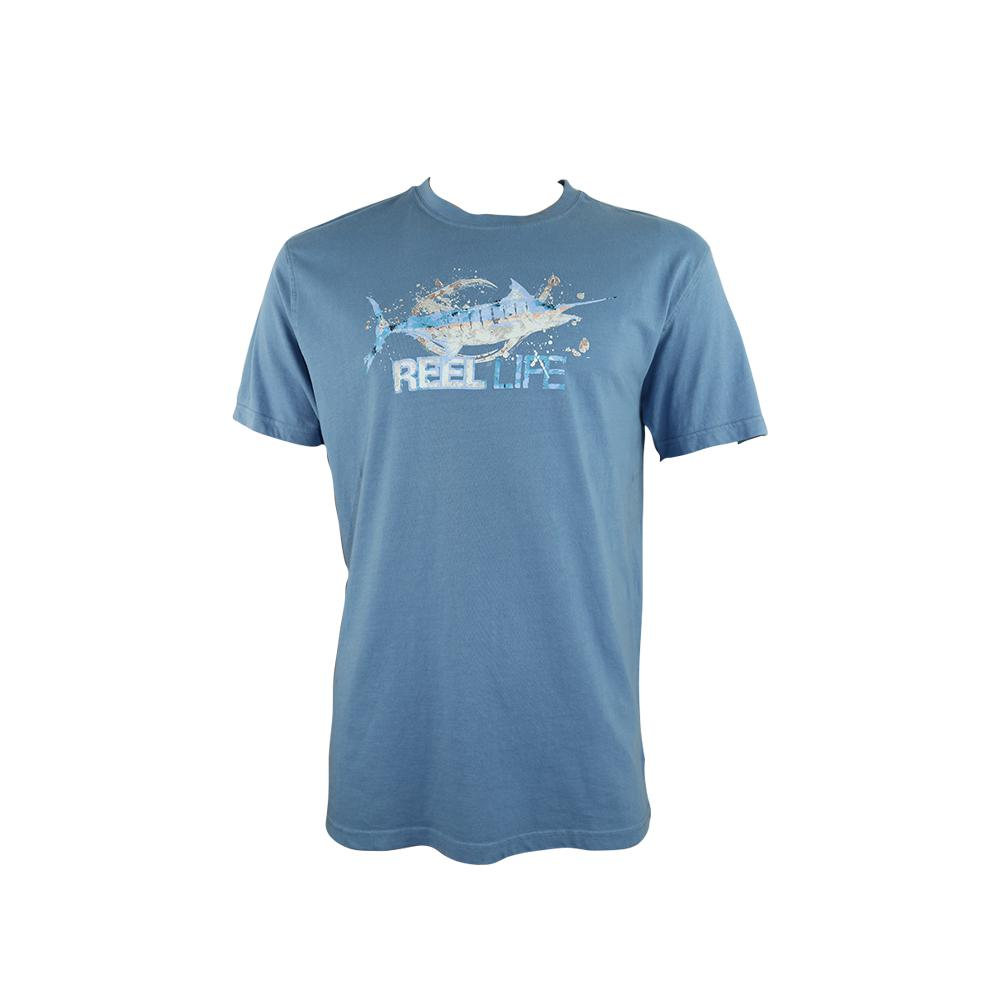 "Reel Life Men's Short Sleeve Tee ""Watercolor Marlin"""