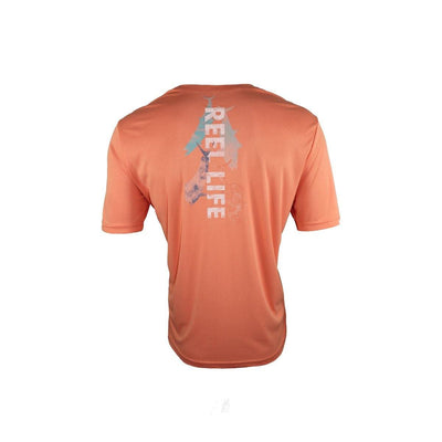 "Reel Life Men's Short Sleeve  UV ""Watercolor Pelagic"" - Cantaloupe"