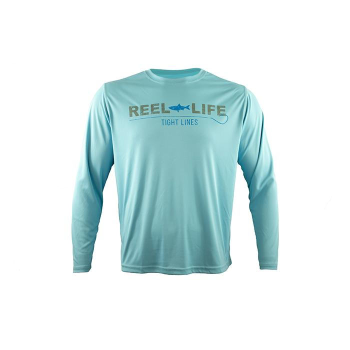 "Reel Life Men's Long Sleeve UV ""Tight Lines"" - Sky Blue"