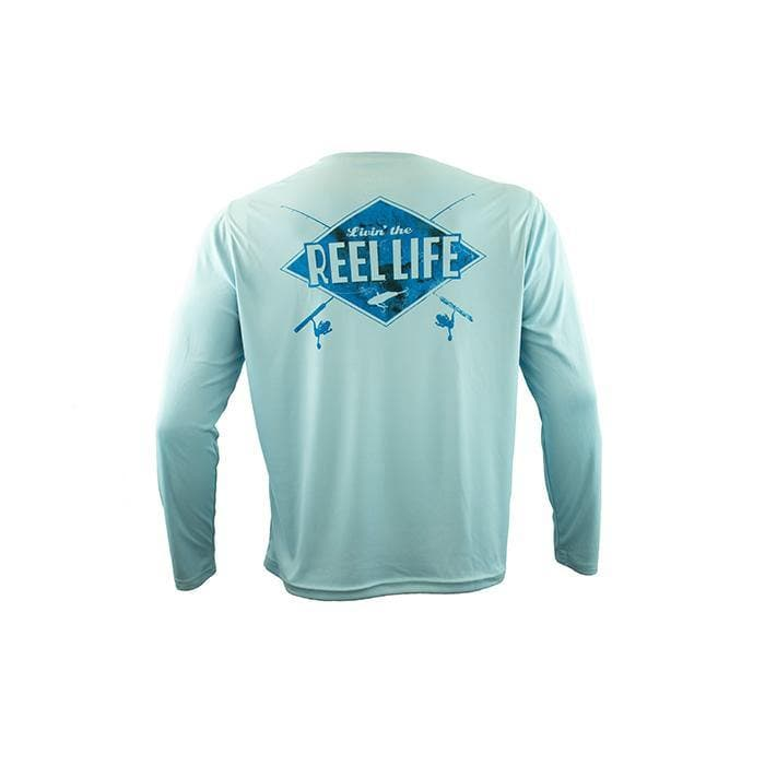 "Reel Life Men's Long Sleeve UV ""Livin Rod N Reel Life"" - Sky Blue"
