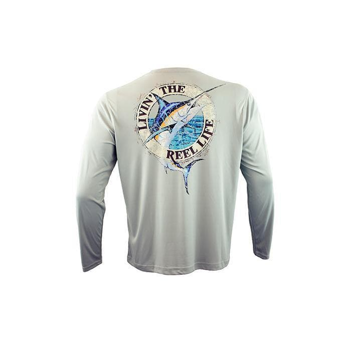 "Men's Long Sleeve UV ""Livin' the Reel Life Marlin"""