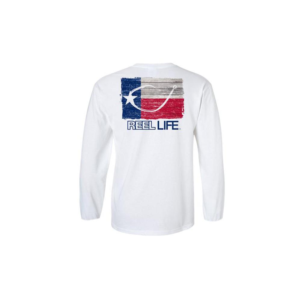"Reel Life Men's Long Sleeve UV ""Texas Circle Hook"" - White"