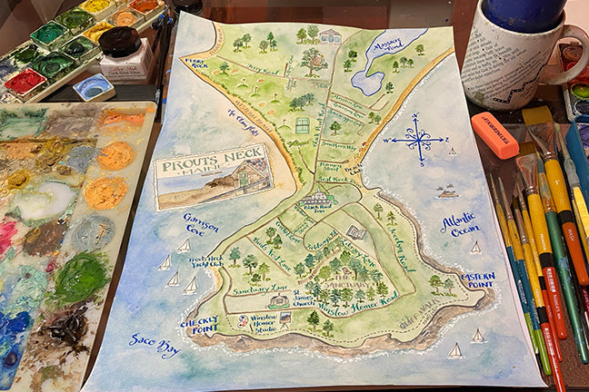 How are El's watercolor maps created?