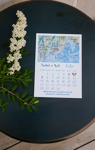 Maine map Wedding Save the Date