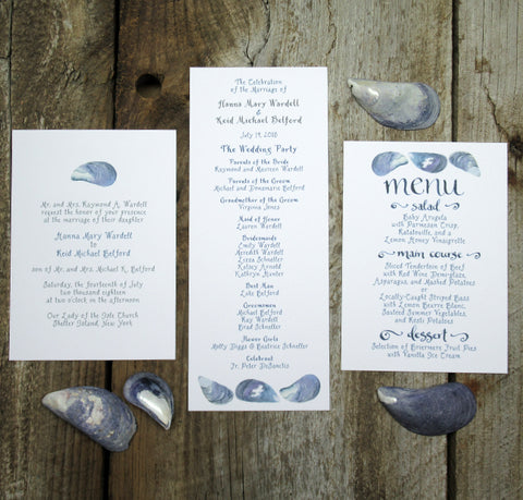 Mussel shell wedding invitation and paper goods