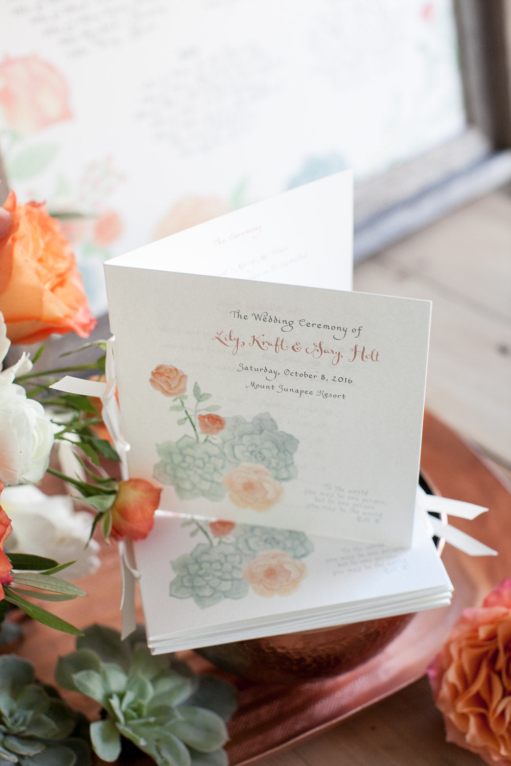 Watercolor Wedding Programs, El's Cards