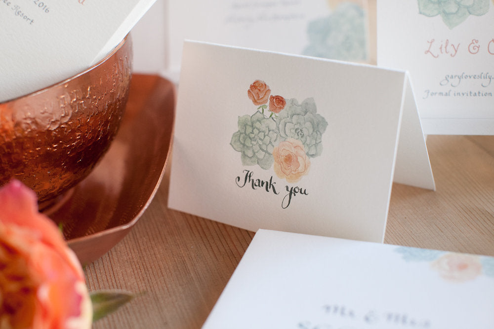 Watercolor Wedding Thank You Notes, El's Cards