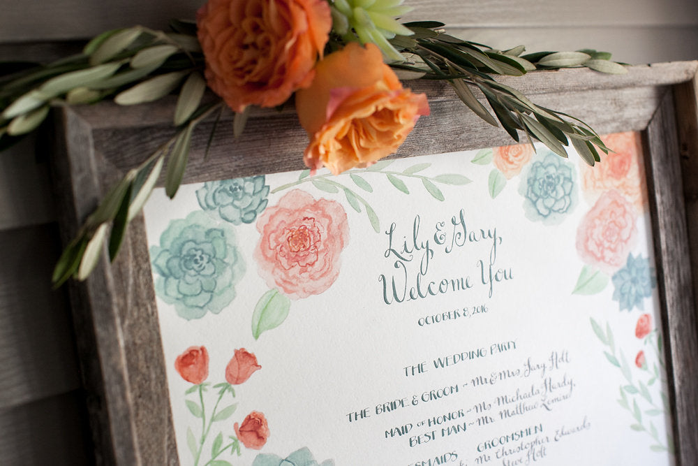 Watercolor Wedding Seating Charts, El's Cards