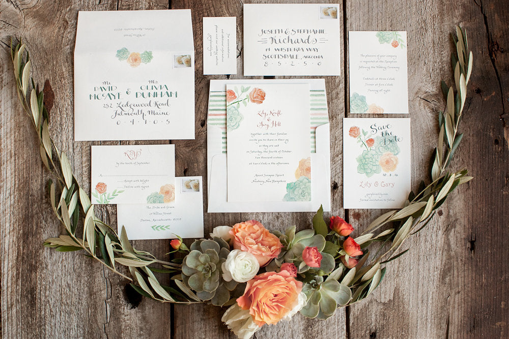 Watercolor Wedding Invitation Suites, El's Cards