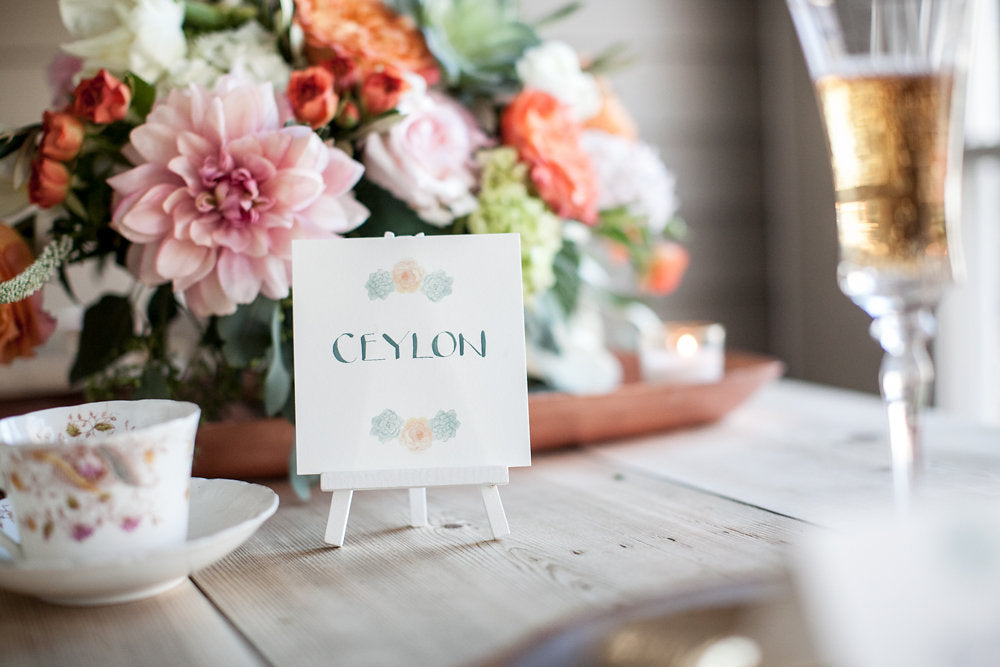 Watercolor Wedding Table Signs, El's Cards