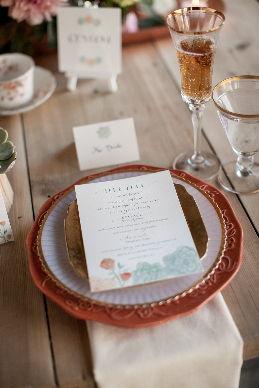 Watercolor Wedding Menus, El's Cards