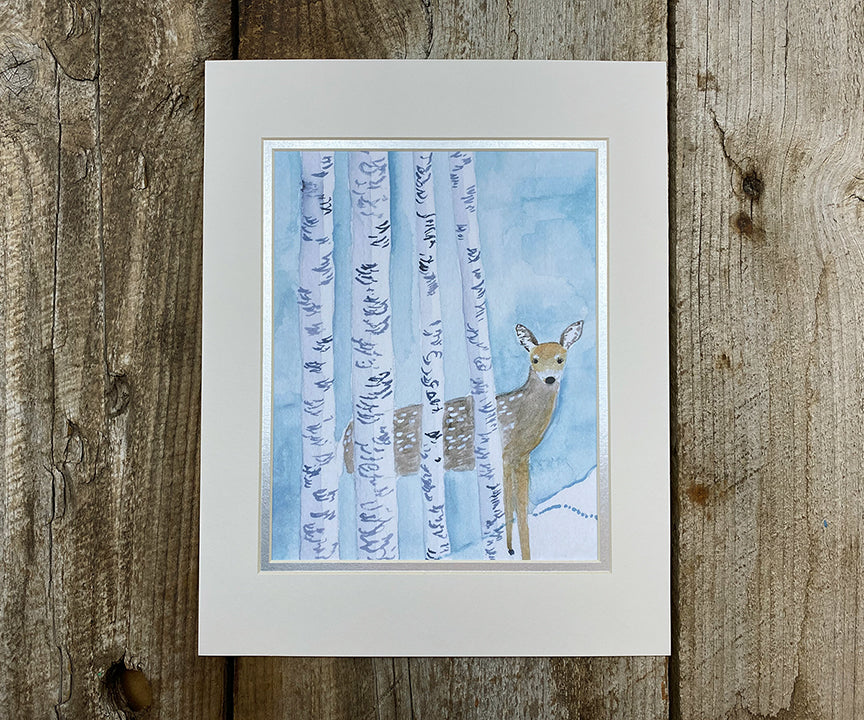 Fawn in the snow print