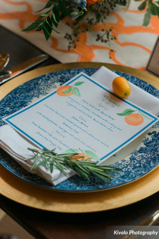 orange menu at reception