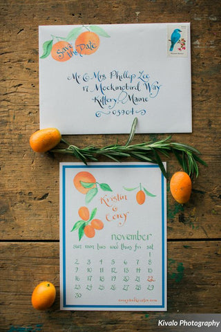 oranges save the date card