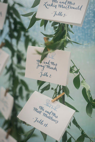 hand calligraphy on escort cards