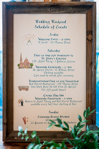 wedding schedule of events sign