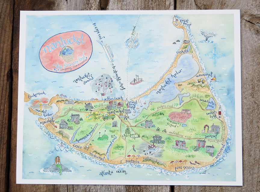 watercolor Nantucket map
