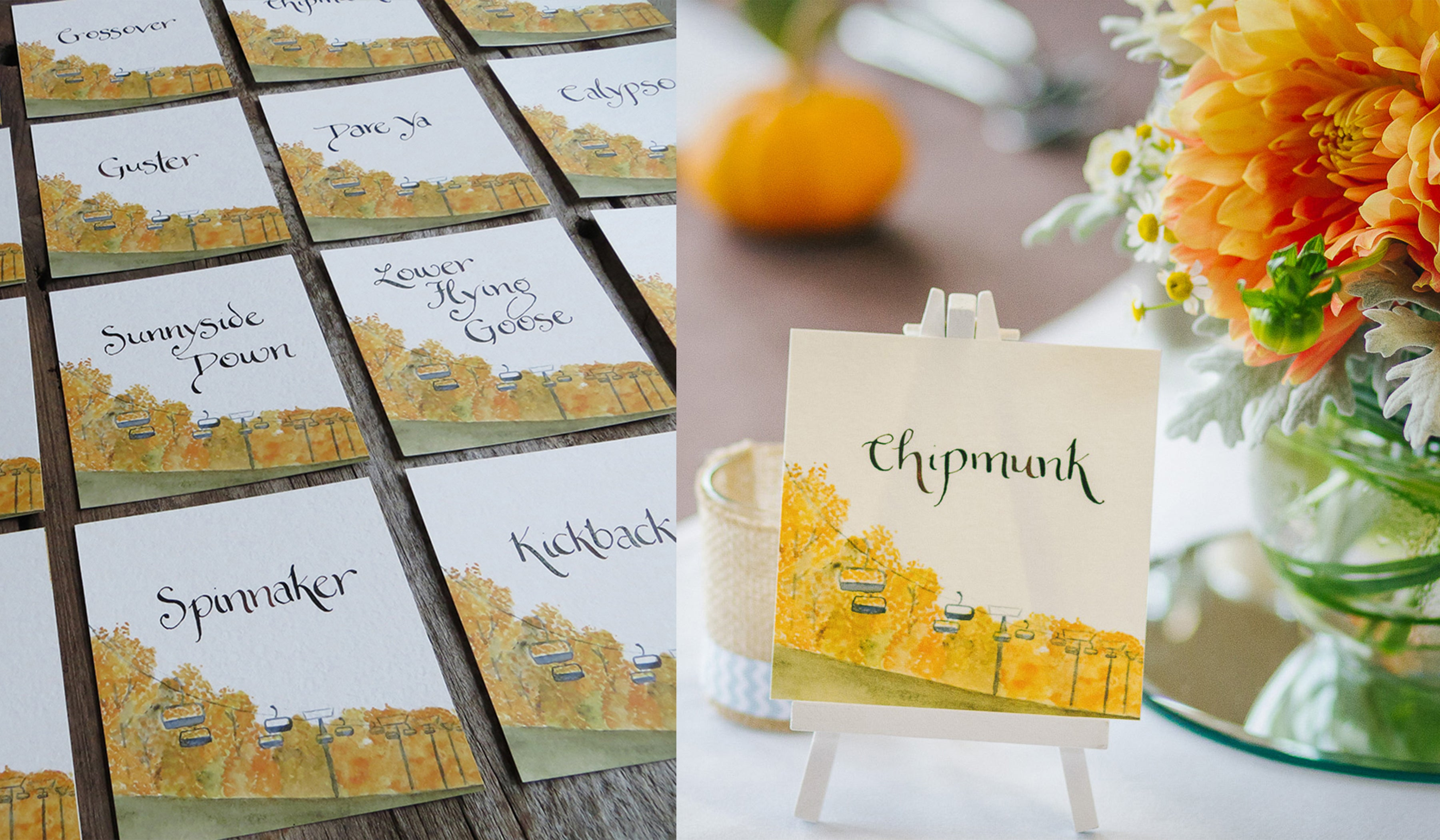 ski trail table names wedding